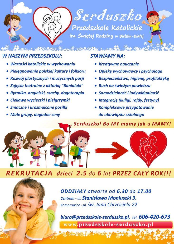 Plakat o naborze do Przedszkola Serduszko - przedszkole-serduszko.pl